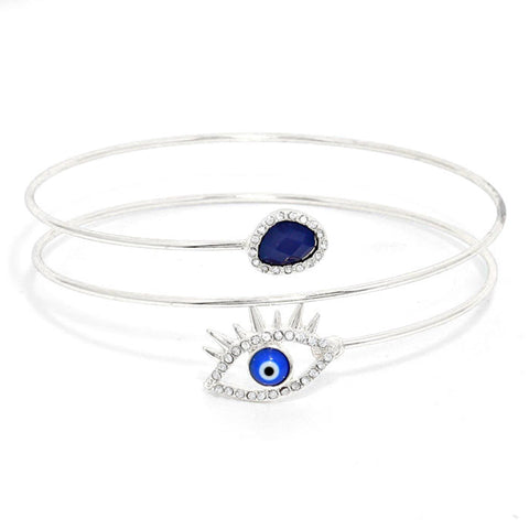 Crystal Trimmed Evil Eye Upper Arm Cuff