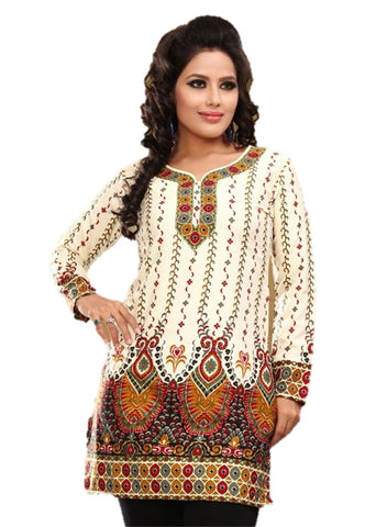 Indian Tunic Top Womens / Kurti Printed Blouse tops - AZDKJD-28A