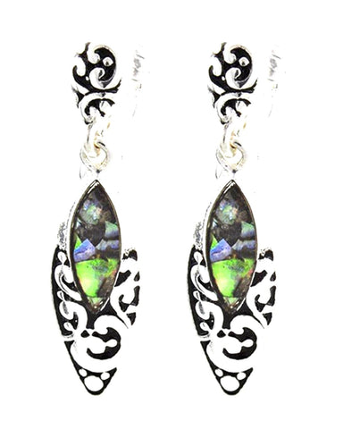 Antique Silver Green Abalone Filigree Dangle Clip-on Earring