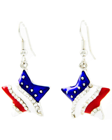 Fashion Independence Day American Flag Star Dangle Fish Hook Earring For Women