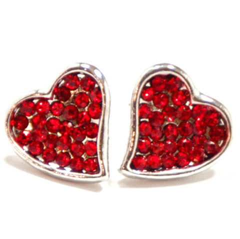 Crystal Heart Stud Earring-Silver/Red