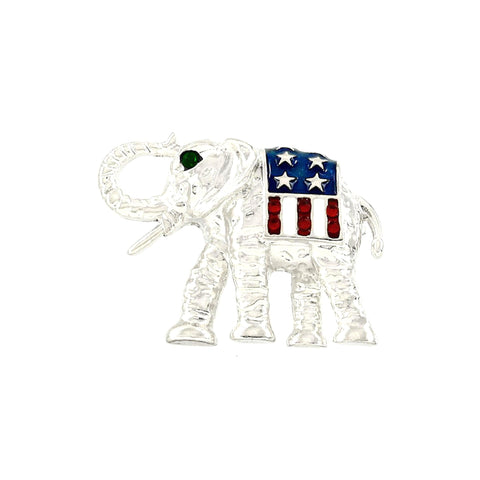 Independence Day / American Flag Elephant Pin - Brooch/pin / AZFJBR277-SRB-PAT