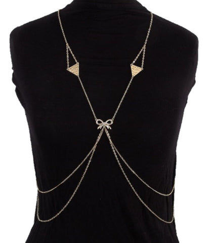 Fashion Trendy Body Chain with Rhinestone- Color: Gold Tone For Women / AZFJBC022-GLD