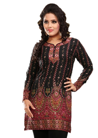 Indian Tunic Top Womens / Kurti Printed Blouse tops - AZDKJD-28B
