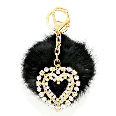 Crystal Heart & Rabbit Fur Pom Pom Key Chain / Bag Charm / AZKCPP491-GBC