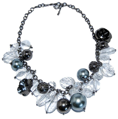 Arras Creations Trendy Fashion Clear & Grey Gun Metal Beaded Short Fusion Necklace for Women / AZFJSH008-HGY