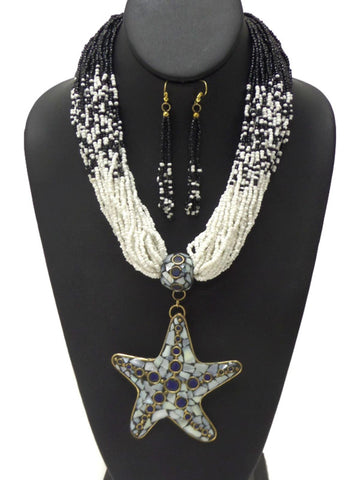 Star Chunky Layer of Seed Beads Necklace Set / AZNSSEA006-BWH