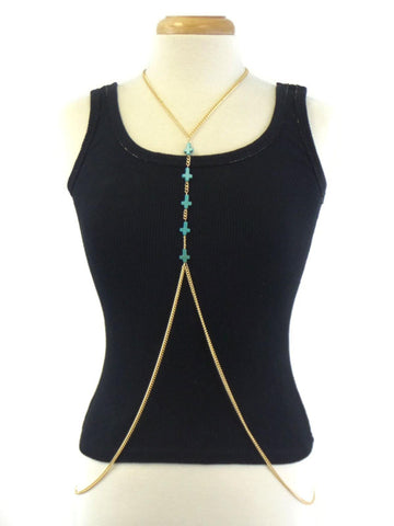 Fashion Trendy Multi Turquoise Cross Center Link Body Chain For Women / AZFJBC046-GTU