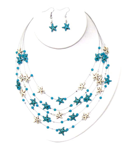 Sea Life Theme Turquoise on Wire Illusion Necklace Earring Set / AZNSSEA001-TWH