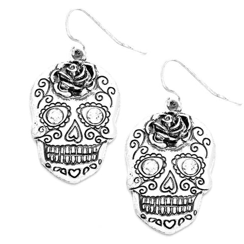 Halloween Crystal Eyes Day of the Dead Skull Earrings / AZERFH625-ASL-HAL