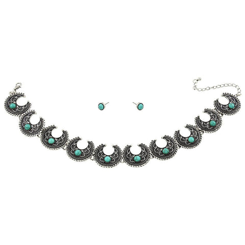 Arras Creations Antique Silver Tone Turquoise Choker & Earring Set for Women / AZFJNS264-BTQ