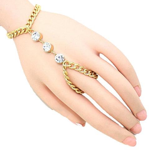 Fashion Crystal Accented Hand Chain Bracelet for Women