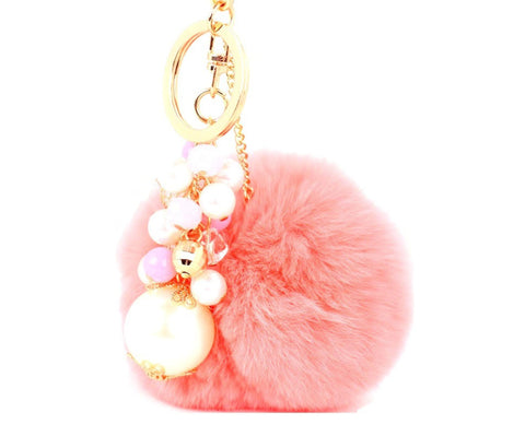 Rabbit Fur Pom Pom with Imitation Pearl Charm Key Chain / Bag Charm / AZKCPCA04-GPI