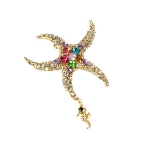 Gold Plated Crystal Studded StarFish Pin Brooch/ AZBRSEA498-GMU
