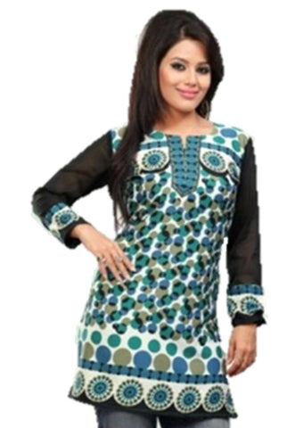 Indian Tunic Top Womens / Kurti Printed Blouse tops - AZDKJD-50C2-M