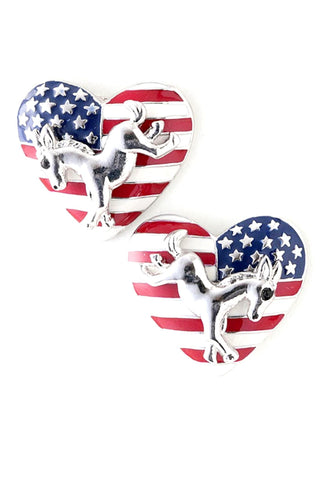 Fashion Independence Day American Flag Election Heart Post Earring Set For Women