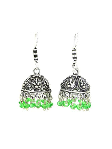 Bollywood Oxidized Beaded Dangle Jhumki/Zhumki Earrings for Women / AZINOX587-AGR