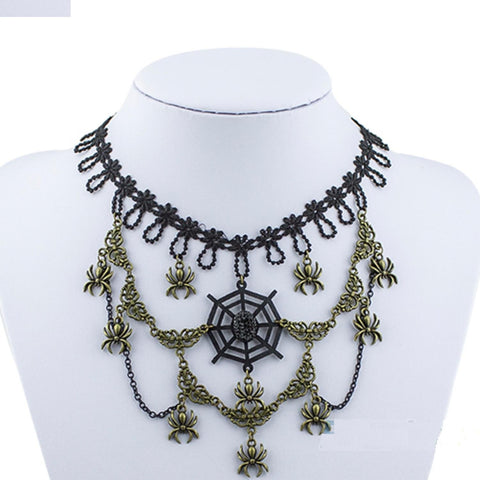 Arras Creations Halloween Vintage Handmade Gothic Lace Spider Choker Necklace for Women / AZVGNEA14-1BG