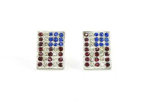Fashion Trendy Independence Day American Austrian Crystal Flag Stud Earrings For Women