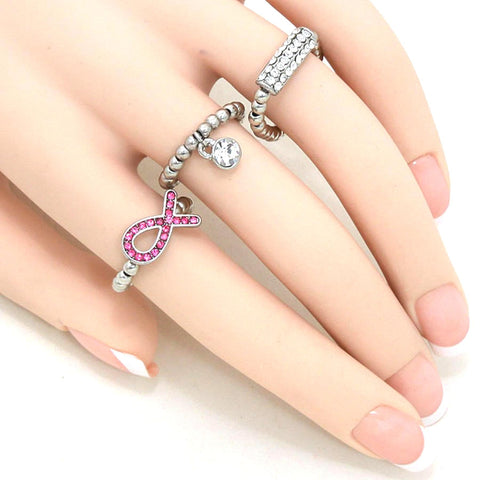 Pink Ribbon Stretch Ring Set - Breast Cancer Awareness / AZRIBCA003-SPC