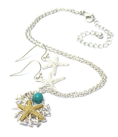 Sea Life Theme Textured Starfish Pendant Necklace Earring Set / AZNSSEA002-STG