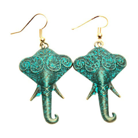 Trendy Fashion Patine Elephant Dangle Earrings For Women / AZEAEL001-GPT
