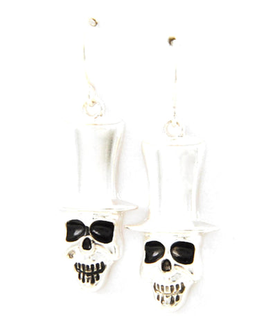 Antique Silver Tone Metal / Halloween / Skull Dangle / Fish Hook Earring Set