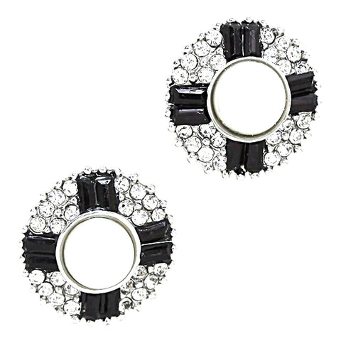 Cross Imitation Pearl Bubble Disk Clip On Earrings / AZERCO350-SBP