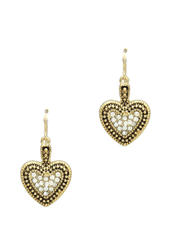 GEM HEART CRYSTAL EARRINGS FOR WOMEN