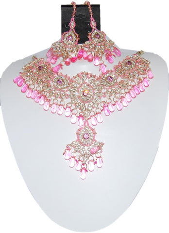 Fashion Trendy Bollywood Style Indian Imitation Necklace Set For Women / AZBWBR027-GLP