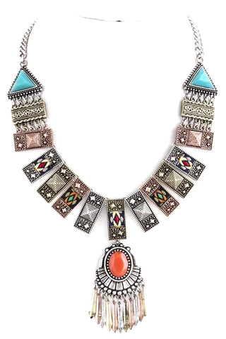 Fashion Belly Dance Vintage Bohemian Ornate Aligned Necklace Set for Women