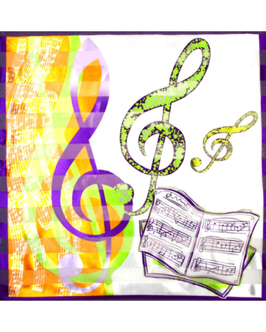 Satin Stripe: Music Design With Music Book Scarf / AZSCMU002-MUL