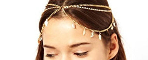 Fashion Trendy Belly Dancing Tribal Crystal Leafy Head Chain for Women