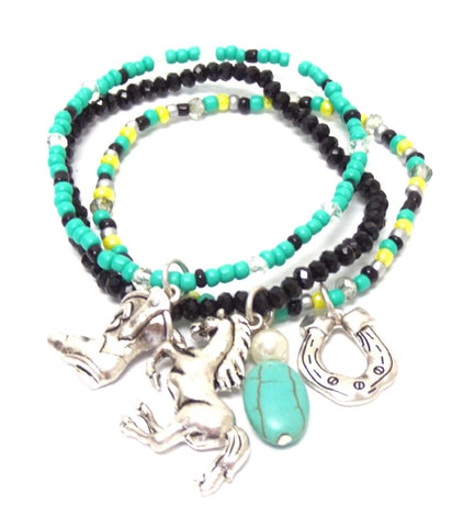Arras Creations Western Theme Horse Charm Stretch Bracelet Set of 3 for Women / AZBRST837-STM