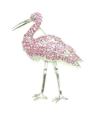 Austrian Crystal Flamingo Pin Brooch / AZFJBR042-SPI
