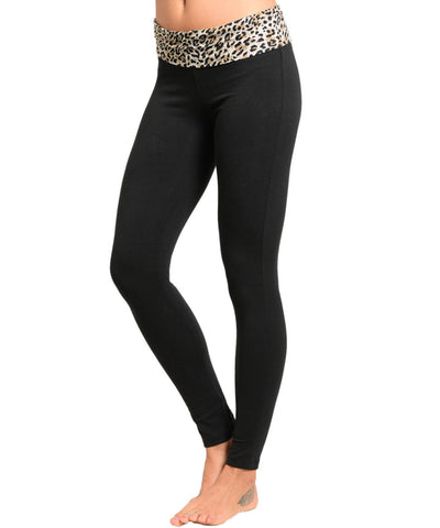 Black Brown Leopard Waistline Pants / Size - Large