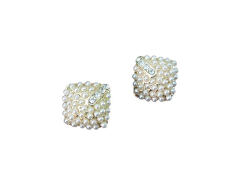 Fashion Imitation Pearl Square Stud Earrings for Women / AZERFH207-GPE