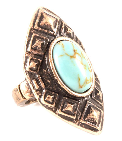 Antique Western Shield Shape Stretachable Ring / AZRIFR148-AGT