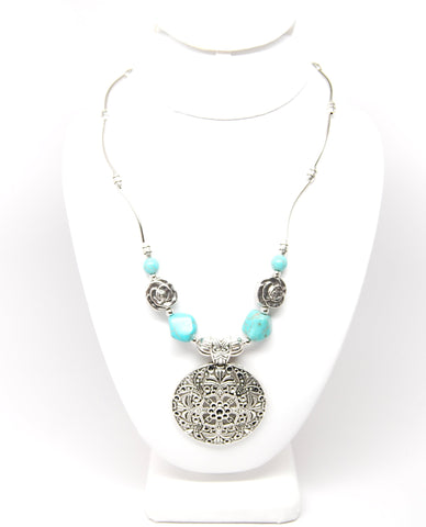 Bohemian Carved Tibetan Silver Turquoise Stone Vintage Choker Necklace chain