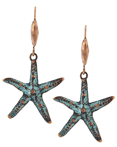 SEA LIFE StarFish Patina Metal Dangle Fish Hook Earring / AZERSEA046-BCT