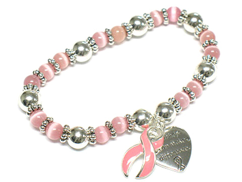 Breast Cancer Awareness Pink Ribbon Casting love Stretch Bracelet For Women / AZBRBCA004-SPK