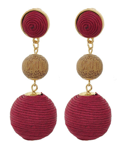 Fashion Trendy Thread Ball Dangle Earrings for Women / AZERPP563-GRB