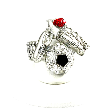 Sports SoccerBall - Crystal Stud Soccer Ball Stretch Ring / AZSJRI555-SBR