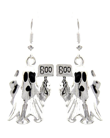 Fashion Halloween Ghost W/bpp Boo Dangle Fish Hook Earrings For Women / AZERHE196-BSL