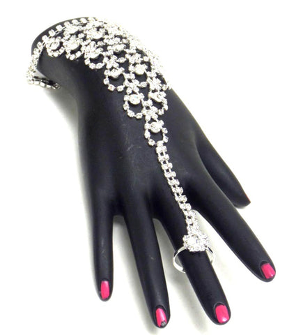 Fashion Crystal Pattern Hand Chain / Slave Bracelet / Bracelet&Ring Set For Women / AZBLSB001-SCL