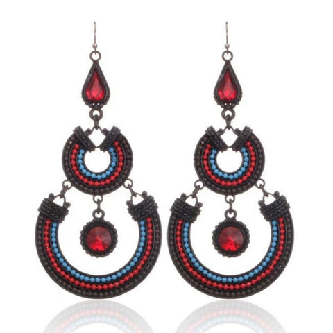 Tricolor Beads Round pierced Earrings / AZERFH225-GRD
