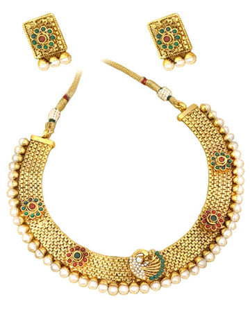 Authentic Indian Traditional Imitation Gold Tone Peacock Jewelry for Women