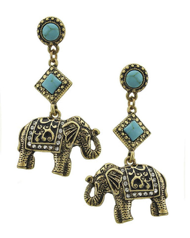 Trendy Fashion Elephant Post Dangle Earrings For Women / AZEREL927-AGT