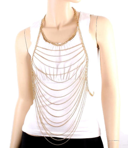 Fashion Trendy Body Chain For Women / AZFJBC021-GLD