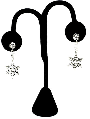 Christmas : Antique Silver Snow Flakes Dangle Post Earrings For Women / AZAEXA013-ASL